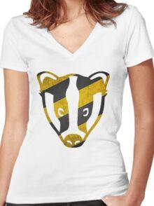 Badger - Yellow & Black Stripes Women's Fitted V-Neck T-Shirt