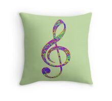 Psychedelic Music note 3 Throw Pillow