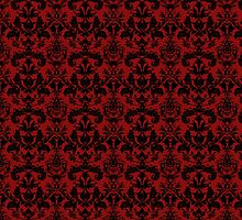 Vintage Red Black Damask Pattern by iEric