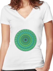 Green  Blue Mandala Women's Fitted V-Neck T-Shirt