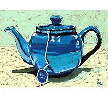 Tea time - blue teapot Photographic Print