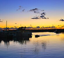 sunset in the harbour  by grostique