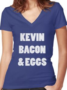 80s kevin bacon and eggs geek funny nerd Women's Fitted V-Neck T-Shirt