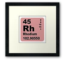 Rhodium Periodic Table of Elements Framed Print