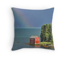 House by the Fjord Throw Pillow