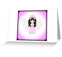 Angel in Pink Anime Greeting Card
