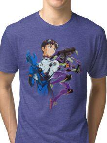 Shinji Ikari and Eva Unit-01 Tri-blend T-Shirt