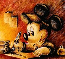Disney - Mickey Mouse Writing Portrairt by manupremoli