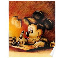 Disney - Mickey Mouse Writing Portrairt Poster