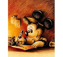 Disney - Mickey Mouse Writing Portrairt Photographic Print