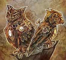 Two Clockwork Owls by Jessica Feinberg