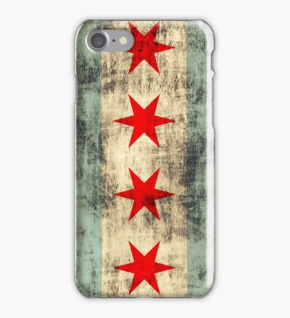 Vintage Grunge Chicago Flag iPhone Case/Skin