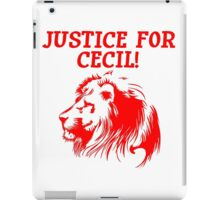 Justice For Cecil The Lion T Shirt (Red Font) iPad Case/Skin