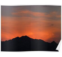 Red Glow Behind the Santa Rita Mountain Range Poster