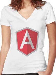Angularjs geek funny nerd Women's Fitted V-Neck T-Shirt