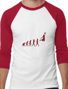 Basketball evolution geek funny nerd Men's Baseball ¾ T-Shirt