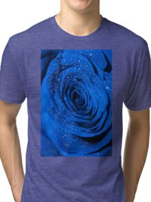 Blue Rose with Droplets Tri-blend T-Shirt