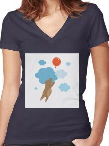 Balloon. Women's Fitted V-Neck T-Shirt