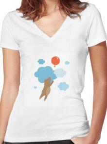 Balloon. Women's Fitted V-Neck T-Shirt