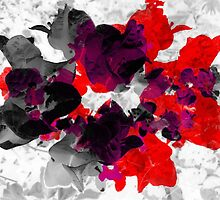 Abstract floral design in red and monochromes by cesarpadilla