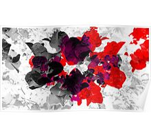 Abstract floral design in red and monochromes Poster