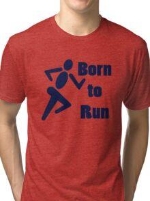 Born to run running boys bike race blue geek funny nerd Tri-blend T-Shirt