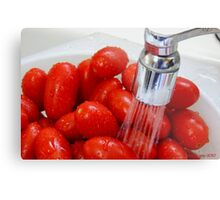 Washing Grape Tomatoes Metal Print