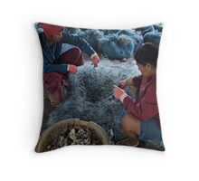 Cleaning the Net Throw Pillow
