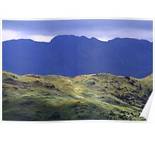 Illuminated Hikers on Silver Howe Dwarfed By Crinkle Crags. Poster