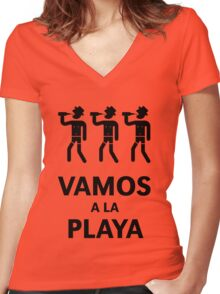 Vamos A La Playa (Beachparty / Black) Women's Fitted V-Neck T-Shirt