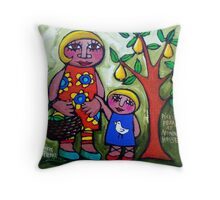 PICKING  PEARS  AT  NONNA'S  HOUSE  Throw Pillow