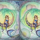 Cobalt Moon Mermaid and Crescent Moon Illustration by Molly  Harrison