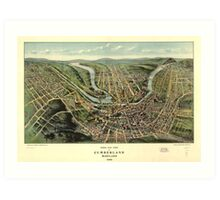 Bird's eye view of Cumberland Maryland (1906) Art Print