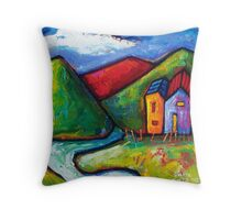 SLOW ROAD TO RED HILL  Throw Pillow