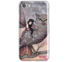 Friendship Fairy and Owl Fantasy Art Illustration by Molly Harrison iPhone Case/Skin