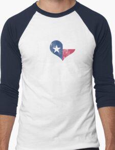 I Heart Texas Flag TX Men's Baseball ¾ T-Shirt