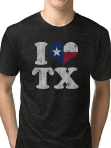 I Heart Texas Flag TX Tri-blend T-Shirt
