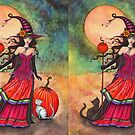 October Moon Witch and Cat Fantasy Art Illustration by Molly  Harrison