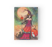 October Moon Witch and Cat Fantasy Art Illustration Hardcover Journal