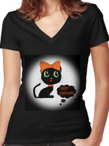 Anime Cat Halloween Women's Fitted V-Neck T-Shirt