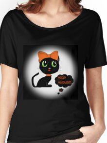 Anime Cat Halloween Women's Relaxed Fit T-Shirt