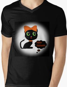 Anime Cat Halloween Mens V-Neck T-Shirt