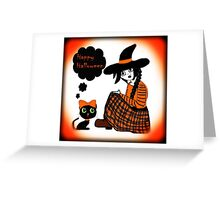 Anime Sitting Halloween Witch Greeting Card