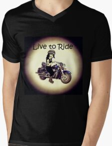 Biker Girl Live to Ride Mens V-Neck T-Shirt