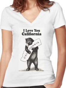 Vintage I Love You California Women's Fitted V-Neck T-Shirt
