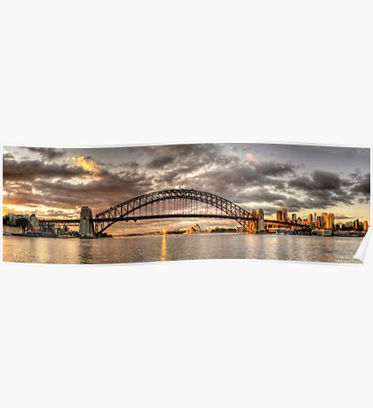 Last Gleaming - Sydney Harbour, Sydney (35 Exposure HDR Panoramic) - The HDR Experience Poster