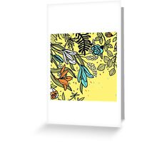 Floral on Yellow Background Greeting Card
