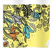 Floral on Yellow Background Poster