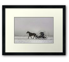 Romantic Buggy Ride In The Snow Framed Print