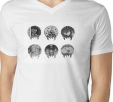 Metroid Shape Illustration Mens V-Neck T-Shirt